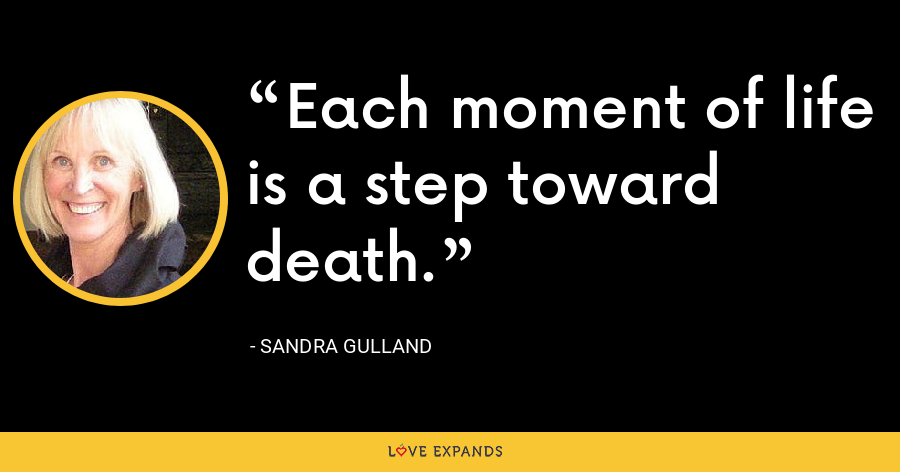Each moment of life is a step toward death. - Sandra Gulland