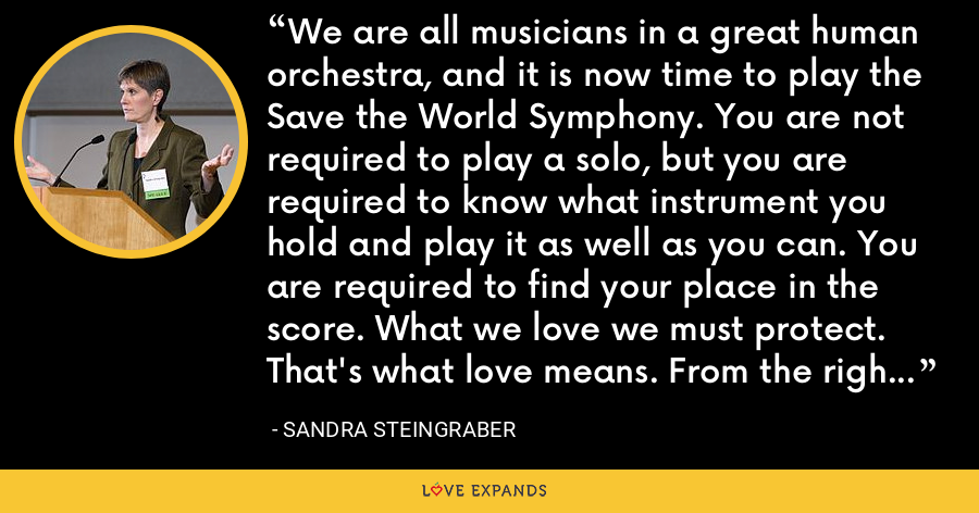 We are all musicians in a great human orchestra, and it is now time to play the Save the World Symphony. You are not required to play a solo, but you are required to know what instrument you hold and play it as well as you can. You are required to find your place in the score. What we love we must protect. That's what love means. From the right to know and the duty to inquire flows the obligation to act. - Sandra Steingraber