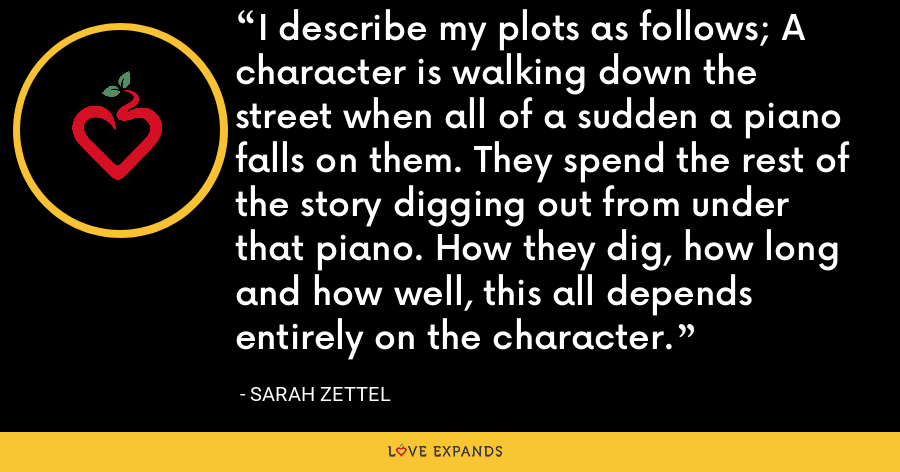 I describe my plots as follows; A character is walking down the street when all of a sudden a piano falls on them. They spend the rest of the story digging out from under that piano. How they dig, how long and how well, this all depends entirely on the character. - Sarah Zettel
