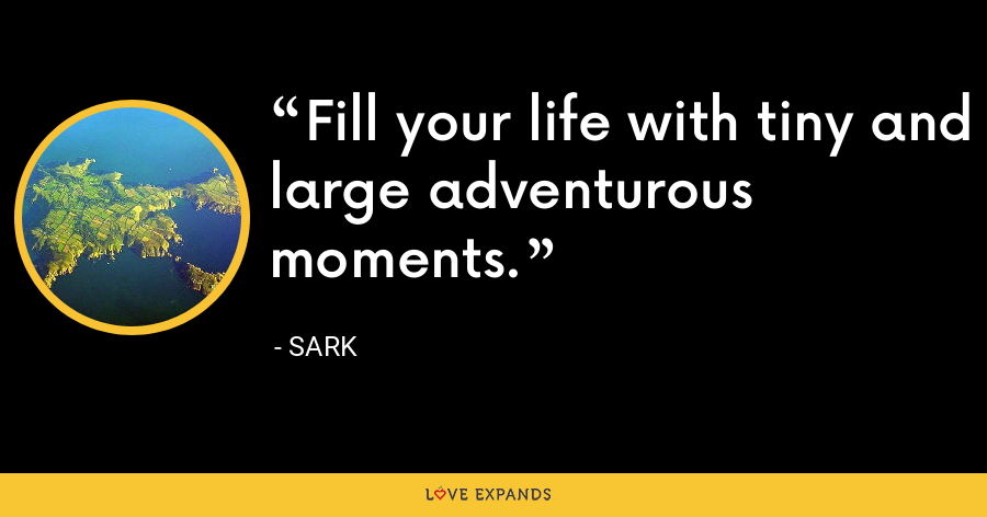 Fill your life with tiny and large adventurous moments. - Sark