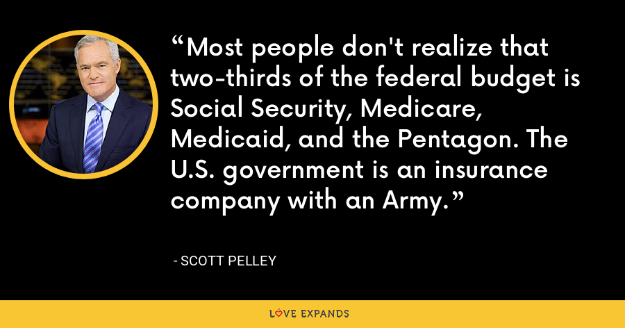 Most people don't realize that two-thirds of the federal budget is Social Security, Medicare, Medicaid, and the Pentagon. The U.S. government is an insurance company with an Army. - Scott Pelley
