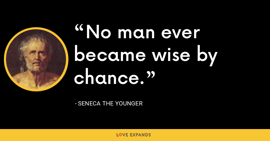 No man ever became wise by chance. - Seneca the Younger