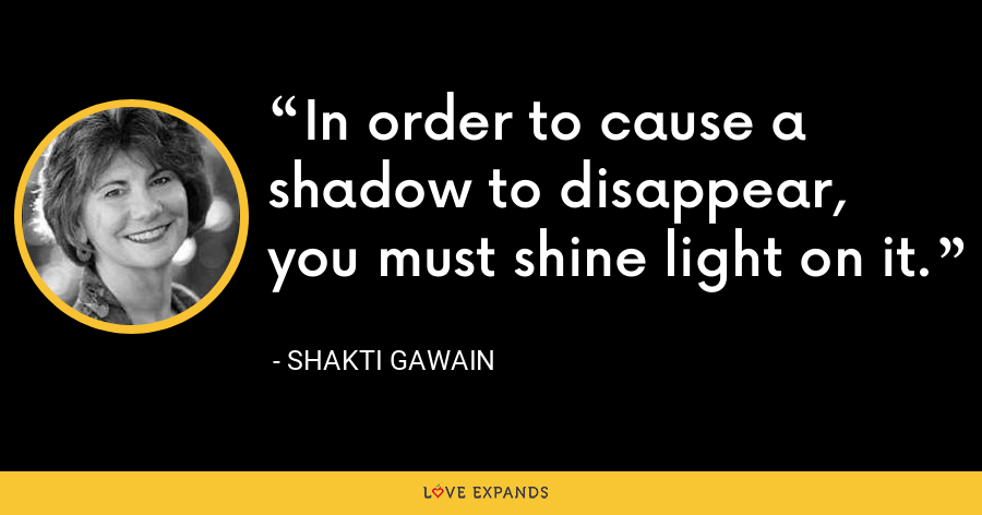 In order to cause a shadow to disappear, you must shine light on it. - Shakti Gawain