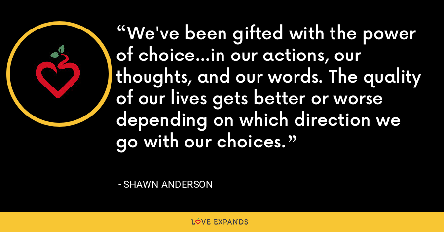 We've been gifted with the power of choice...in our actions, our thoughts, and our words. The quality of our lives gets better or worse depending on which direction we go with our choices. - Shawn Anderson
