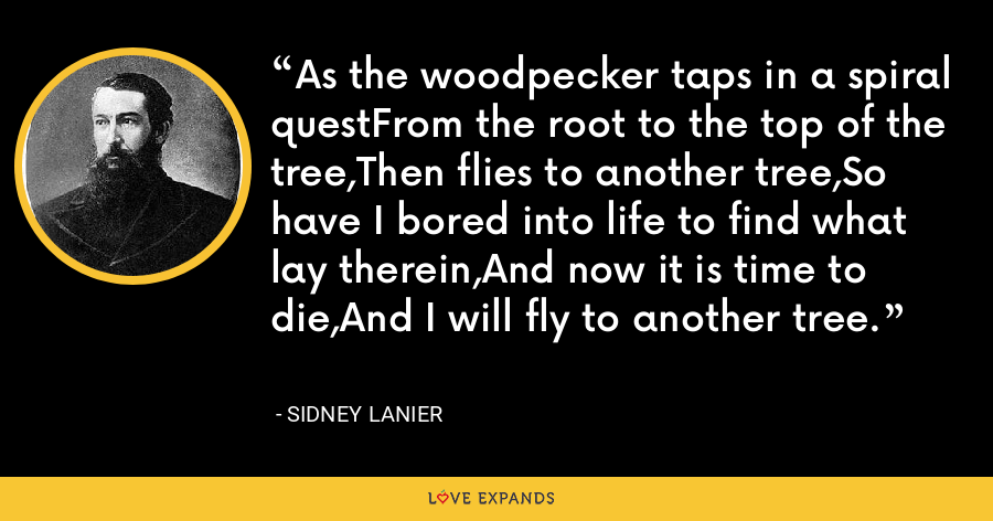 As the woodpecker taps in a spiral questFrom the root to the top of the tree,Then flies to another tree,So have I bored into life to find what lay therein,And now it is time to die,And I will fly to another tree. - Sidney Lanier