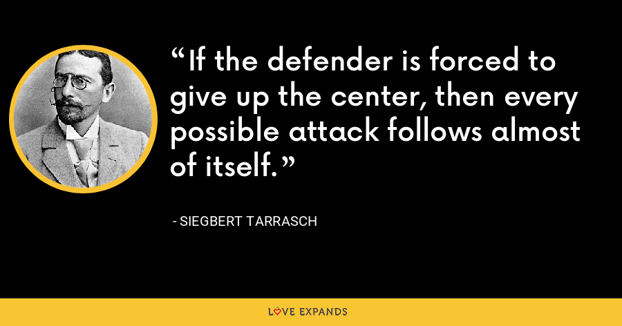If the defender is forced to give up the center, then every possible attack follows almost of itself. - Siegbert Tarrasch