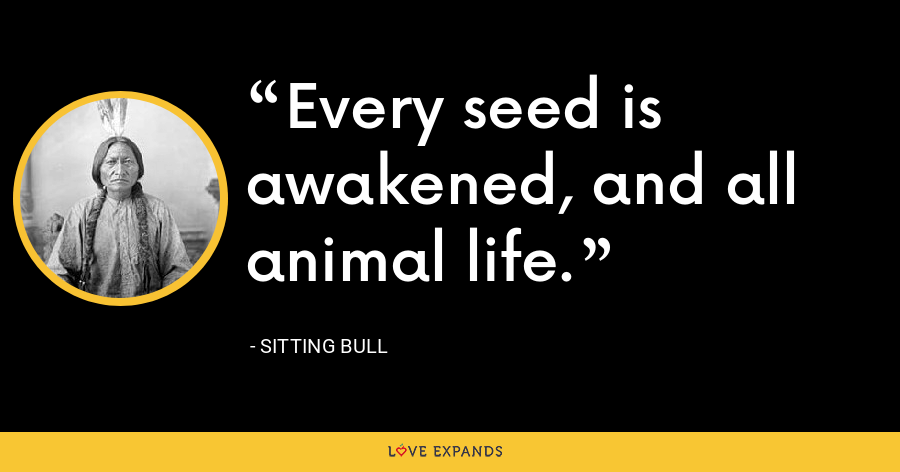 Every seed is awakened, and all animal life. - Sitting Bull