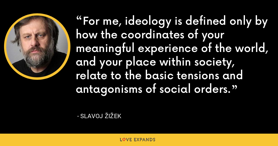 For me, ideology is defined only by how the coordinates of your meaningful experience of the world, and your place within society, relate to the basic tensions and antagonisms of social orders. - Slavoj Žižek