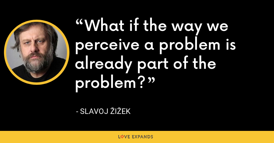 What if the way we perceive a problem is already part of the problem? - Slavoj Žižek