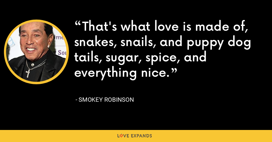 That's what love is made of, snakes, snails, and puppy dog tails, sugar, spice, and everything nice. - Smokey Robinson