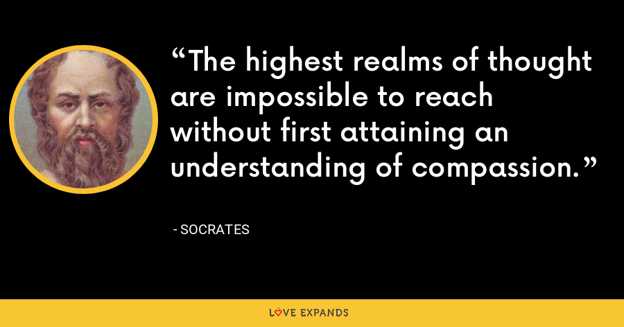 The highest realms of thought are impossible to reach without first attaining an understanding of compassion. - Socrates