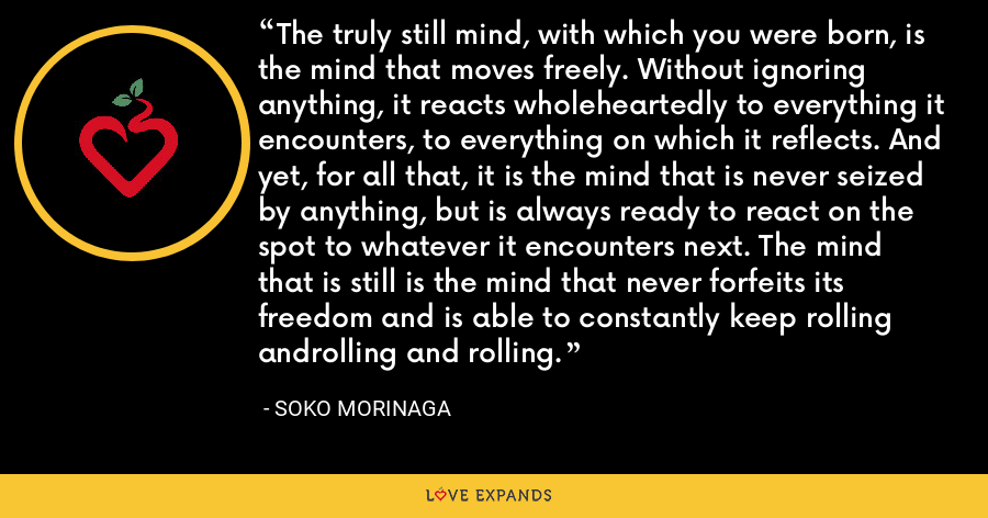 The truly still mind, with which you were born, is the mind that moves freely. Without ignoring anything, it reacts wholeheartedly to everything it encounters, to everything on which it reflects. And yet, for all that, it is the mind that is never seized by anything, but is always ready to react on the spot to whatever it encounters next. The mind that is still is the mind that never forfeits its freedom and is able to constantly keep rolling androlling and rolling. - Soko Morinaga