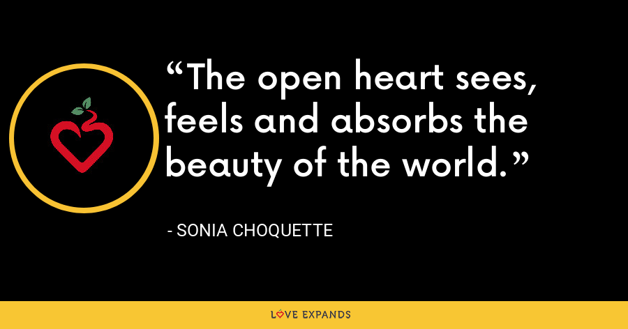 The open heart sees, feels and absorbs the beauty of the world. - Sonia Choquette