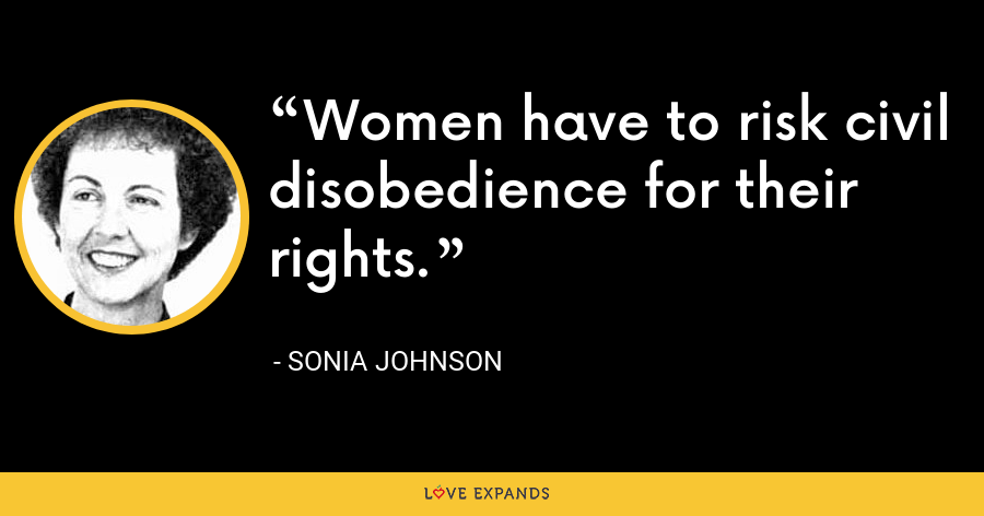Women have to risk civil disobedience for their rights. - Sonia Johnson
