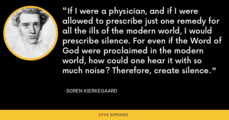 If I were a physician, and if I were allowed to prescribe just one remedy for all the ills of the modern world, I would prescribe silence. For even if the Word of God were proclaimed in the modern world, how could one hear it with so much noise? Therefore, create silence. - Soren Kierkegaard