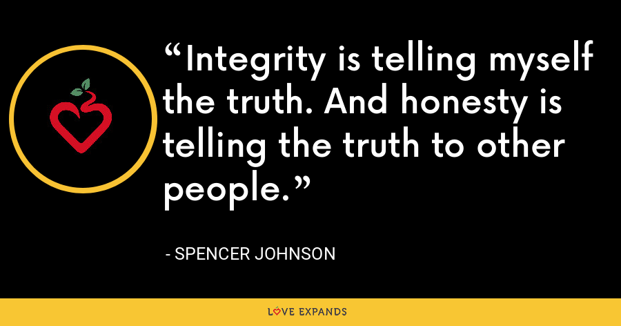 Integrity is telling myself the truth. And honesty is telling the truth to other people. - Spencer Johnson