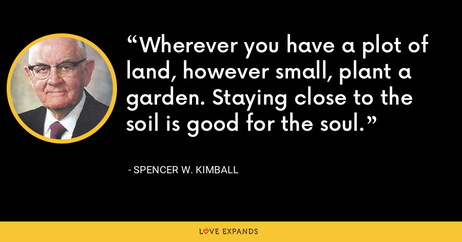 Wherever you have a plot of land, however small, plant a garden. Staying close to the soil is good for the soul. - Spencer W. Kimball