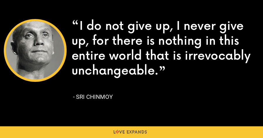 I do not give up, I never give up, for there is nothing in this entire world that is irrevocably unchangeable. - Sri Chinmoy