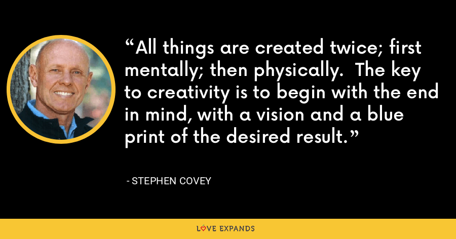 All things are created twice; first mentally; then physically.  The key to creativity is to begin with the end in mind, with a vision and a blue print of the desired result. - Stephen Covey