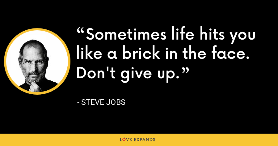 Sometimes life hits you like a brick in the face. Don't give up. - Steve Jobs