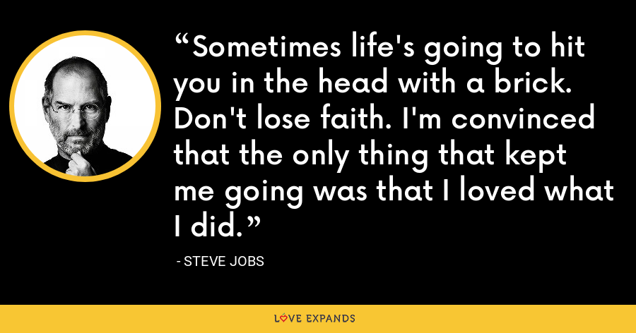Sometimes life's going to hit you in the head with a brick. Don't lose faith. I'm convinced that the only thing that kept me going was that I loved what I did. - Steve Jobs