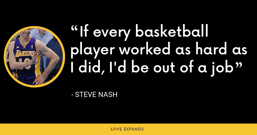 If every basketball player worked as hard as I did, I'd be out of a job - Steve Nash