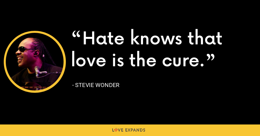 Hate knows that love is the cure. - Stevie Wonder