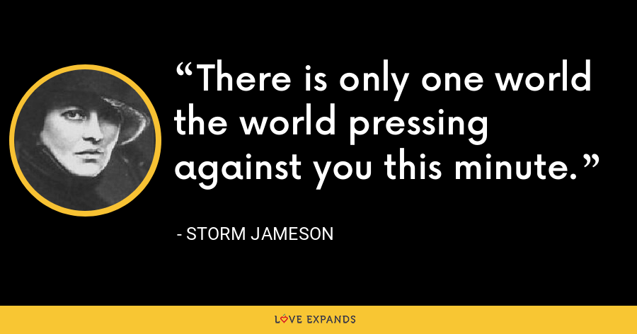There is only one world the world pressing against you this minute. - Storm Jameson