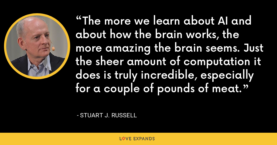 The more we learn about AI and about how the brain works, the more amazing the brain seems. Just the sheer amount of computation it does is truly incredible, especially for a couple of pounds of meat. - Stuart J. Russell