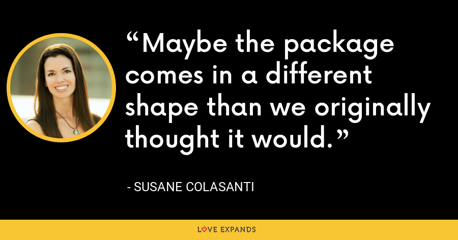 Maybe the package comes in a different shape than we originally thought it would. - Susane Colasanti