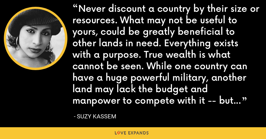 Never discount a country by their size or resources. What may not be useful to yours, could be greatly beneficial to other lands in need. Everything exists with a purpose. True wealth is what cannot be seen. While one country can have a huge powerful military, another land may lack the budget and manpower to compete with it -- but be filled with happy citizens. - Suzy Kassem