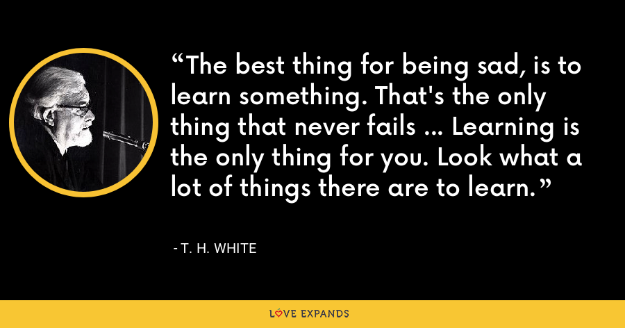 The best thing for being sad, is to learn something. That's the only thing that never fails ... Learning is the only thing for you. Look what a lot of things there are to learn. - T. H. White