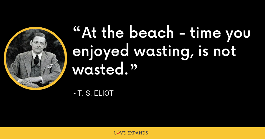 At the beach - time you enjoyed wasting, is not wasted. - T. S. Eliot