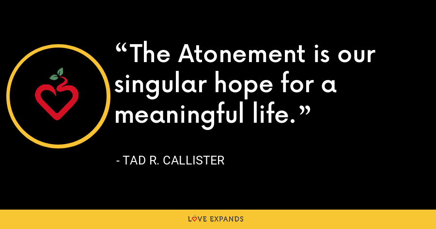 The Atonement is our singular hope for a meaningful life. - Tad R. Callister