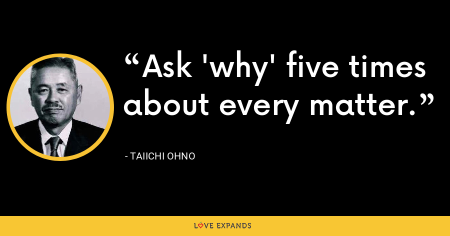 Ask 'why' five times about every matter. - Taiichi Ohno