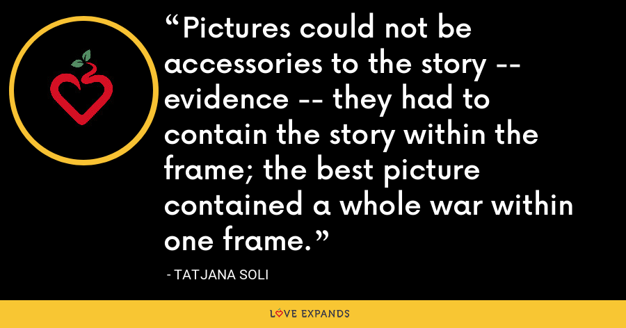 Pictures could not be accessories to the story -- evidence -- they had to contain the story within the frame; the best picture contained a whole war within one frame. - Tatjana Soli