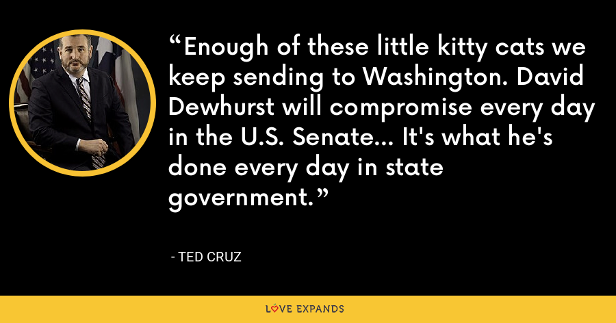 Enough of these little kitty cats we keep sending to Washington. David Dewhurst will compromise every day in the U.S. Senate... It's what he's done every day in state government. - Ted Cruz