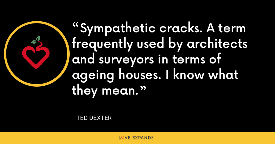 Sympathetic cracks. A term frequently used by architects and surveyors in terms of ageing houses. I know what they mean. - Ted Dexter