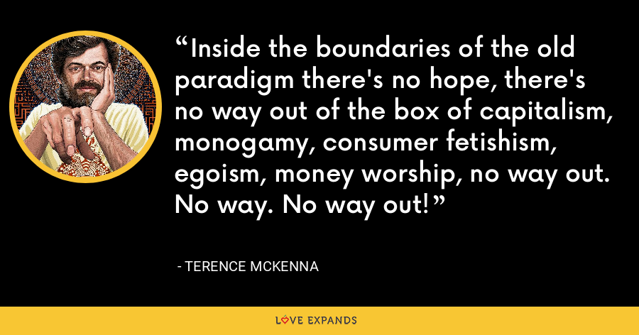 Inside the boundaries of the old paradigm there's no hope, there's no way out of the box of capitalism, monogamy, consumer fetishism, egoism, money worship, no way out. No way. No way out! - Terence McKenna