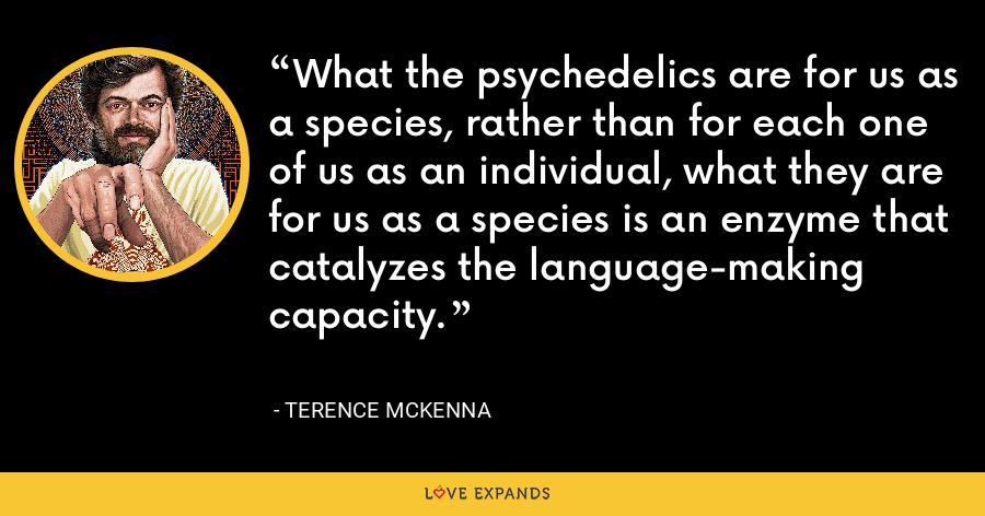What the psychedelics are for us as a species, rather than for each one of us as an individual, what they are for us as a species is an enzyme that catalyzes the language-making capacity. - Terence McKenna