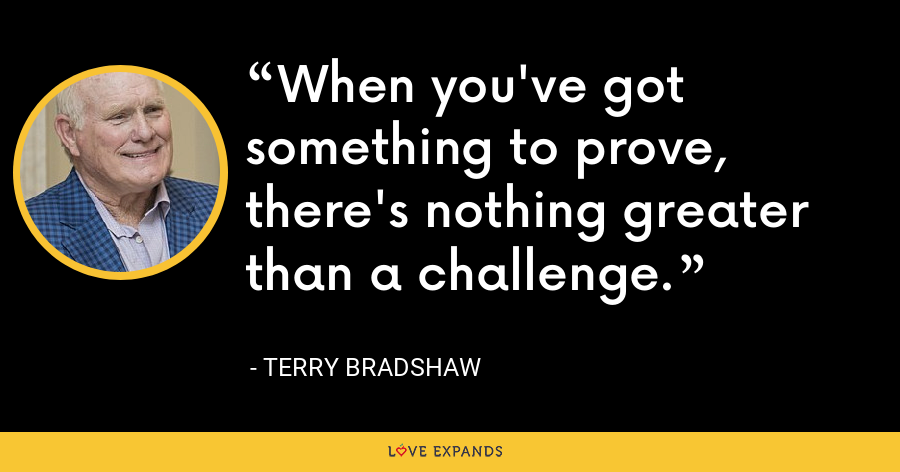 When you've got something to prove, there's nothing greater than a challenge. - Terry Bradshaw