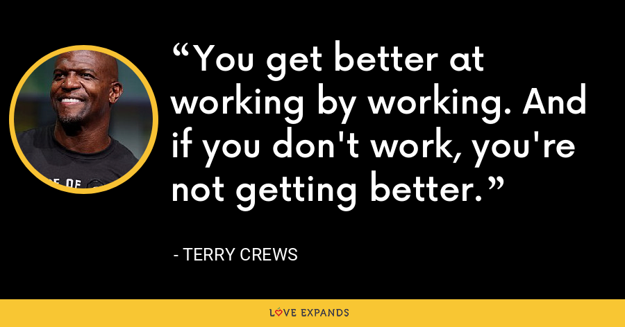 You get better at working by working. And if you don't work, you're not getting better. - Terry Crews