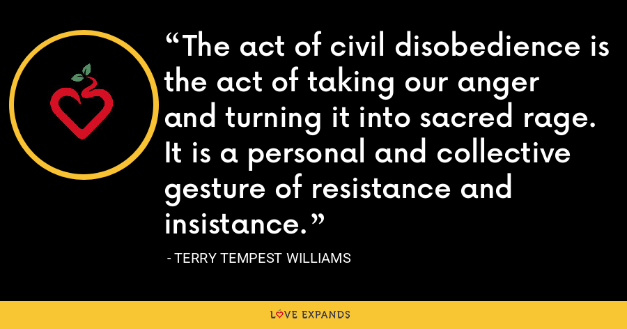 The act of civil disobedience is the act of taking our anger and turning it into sacred rage. It is a personal and collective gesture of resistance and insistance. - Terry Tempest Williams
