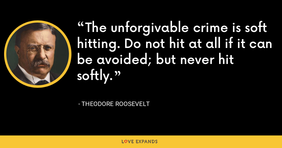 The unforgivable crime is soft hitting. Do not hit at all if it can be avoided; but never hit softly. - Theodore Roosevelt