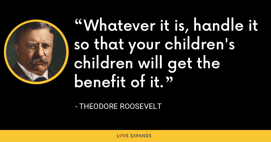 Whatever it is, handle it so that your children's children will get the benefit of it. - Theodore Roosevelt