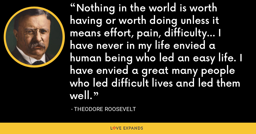 Nothing in the world is worth having or worth doing unless it means effort, pain, difficulty… I have never in my life envied a human being who led an easy life. I have envied a great many people who led difficult lives and led them well. - Theodore Roosevelt