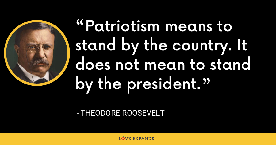 Patriotism means to stand by the country. It does not mean to stand by the president. - Theodore Roosevelt