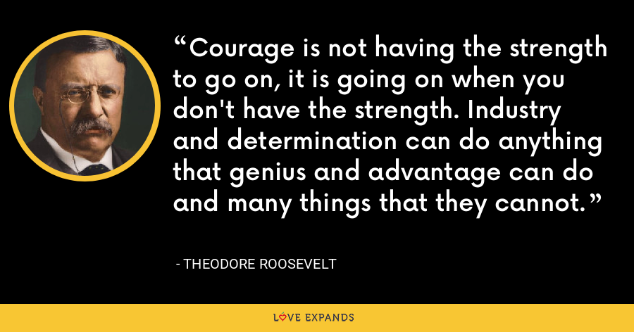 Courage is not having the strength to go on, it is going on when you don't have the strength. Industry and determination can do anything that genius and advantage can do and many things that they cannot. - Theodore Roosevelt
