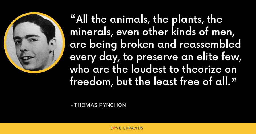 All the animals, the plants, the minerals, even other kinds of men, are being broken and reassembled every day, to preserve an elite few, who are the loudest to theorize on freedom, but the least free of all. - Thomas Pynchon