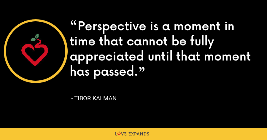 Perspective is a moment in time that cannot be fully appreciated until that moment has passed. - Tibor Kalman